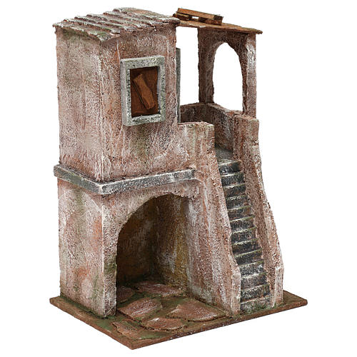 Two-floor house for 10 cm Nativity scene, 30x20x15 cm 3