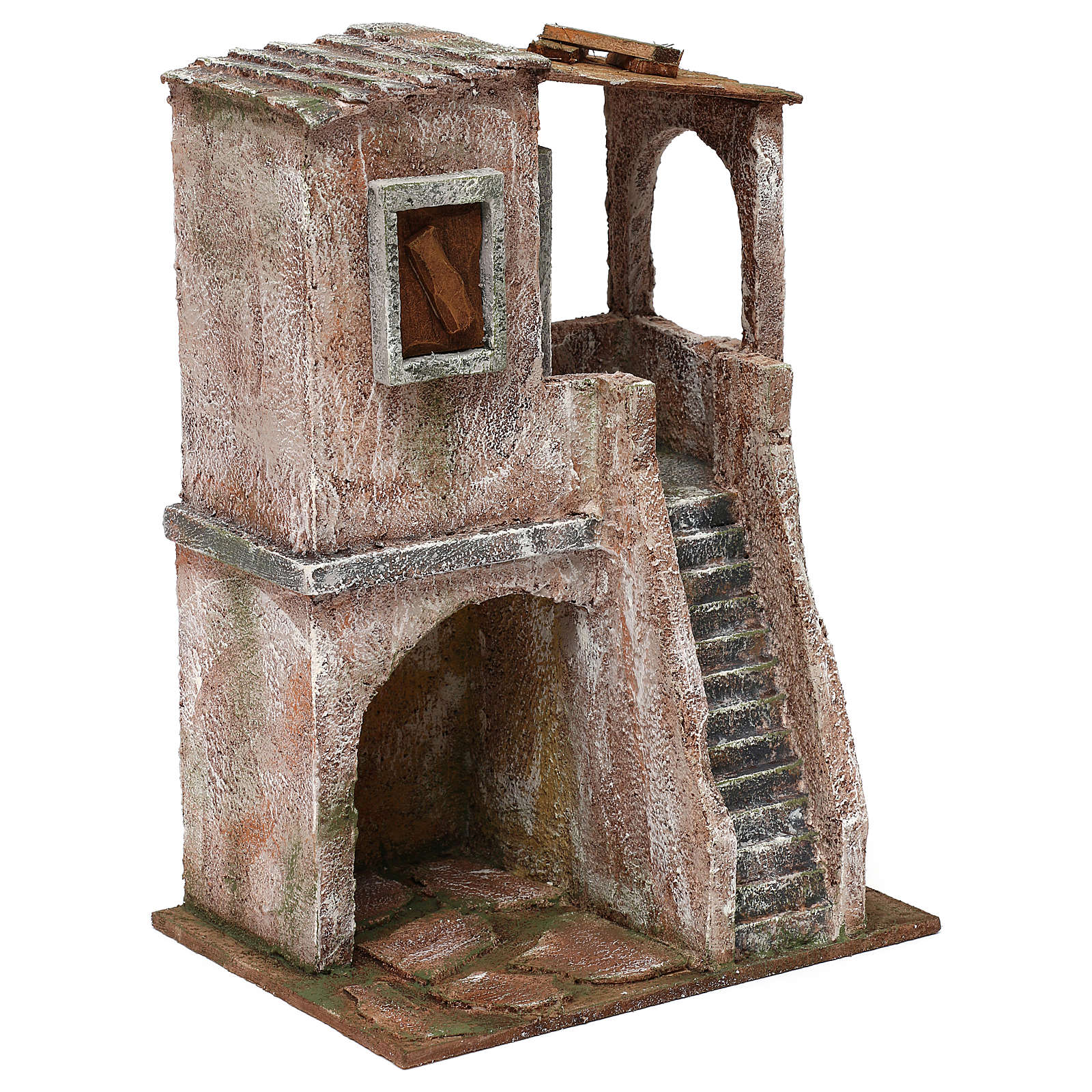 Casetta disposta su 2 piani comunicanti di 30x20x15 cm per presepe 10 cm 4