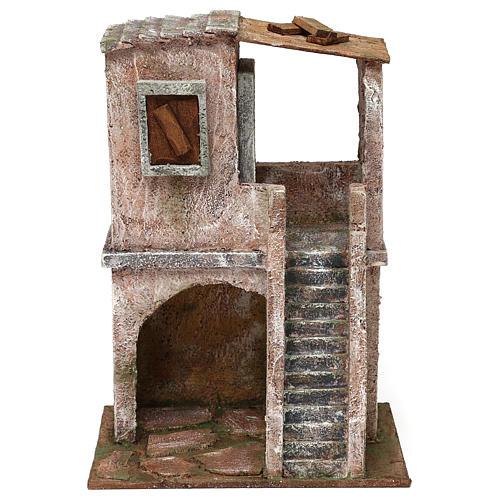 Casetta disposta su 2 piani comunicanti di 30x20x15 cm per presepe 10 cm 1