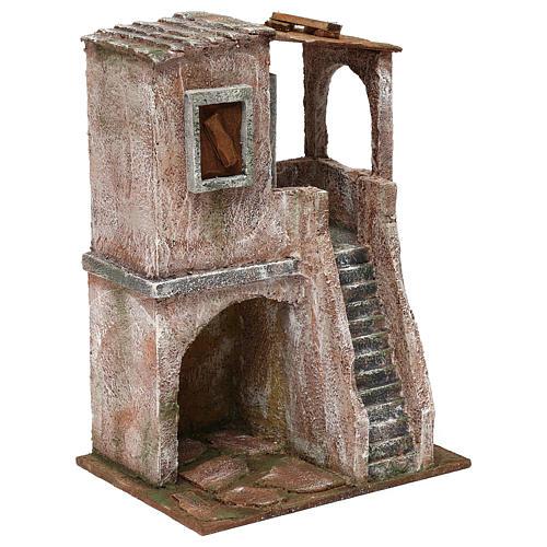 Casetta disposta su 2 piani comunicanti di 30x20x15 cm per presepe 10 cm 3