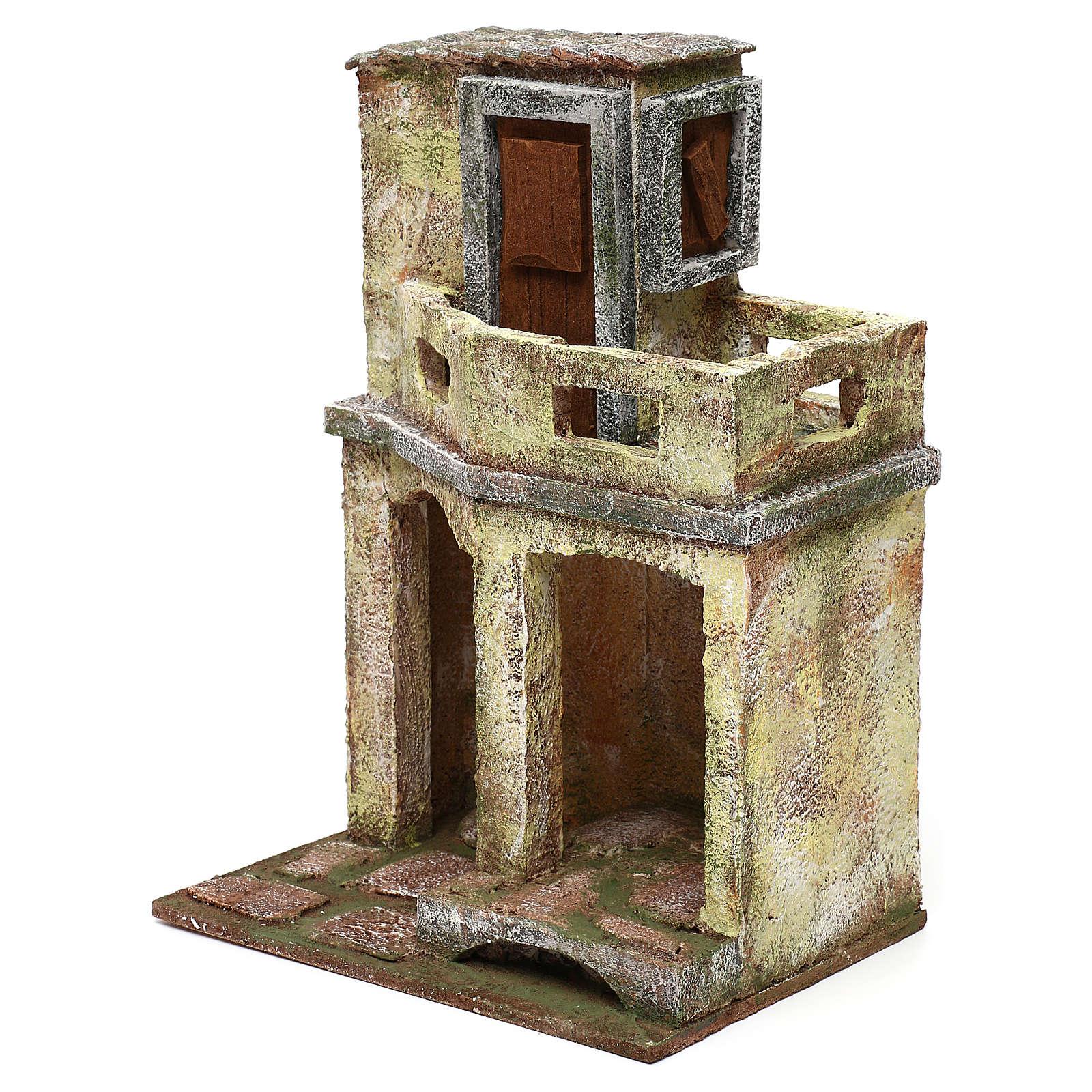 Casetta con capanna e balcone di 30x20x15 cm per presepe di 10 cm 4