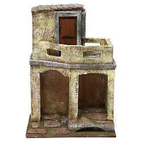 Casetta con capanna e balcone di 30x20x15 cm per presepe di 10 cm s1