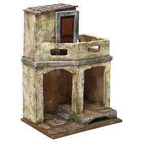 Casetta con capanna e balcone di 30x20x15 cm per presepe di 10 cm s3