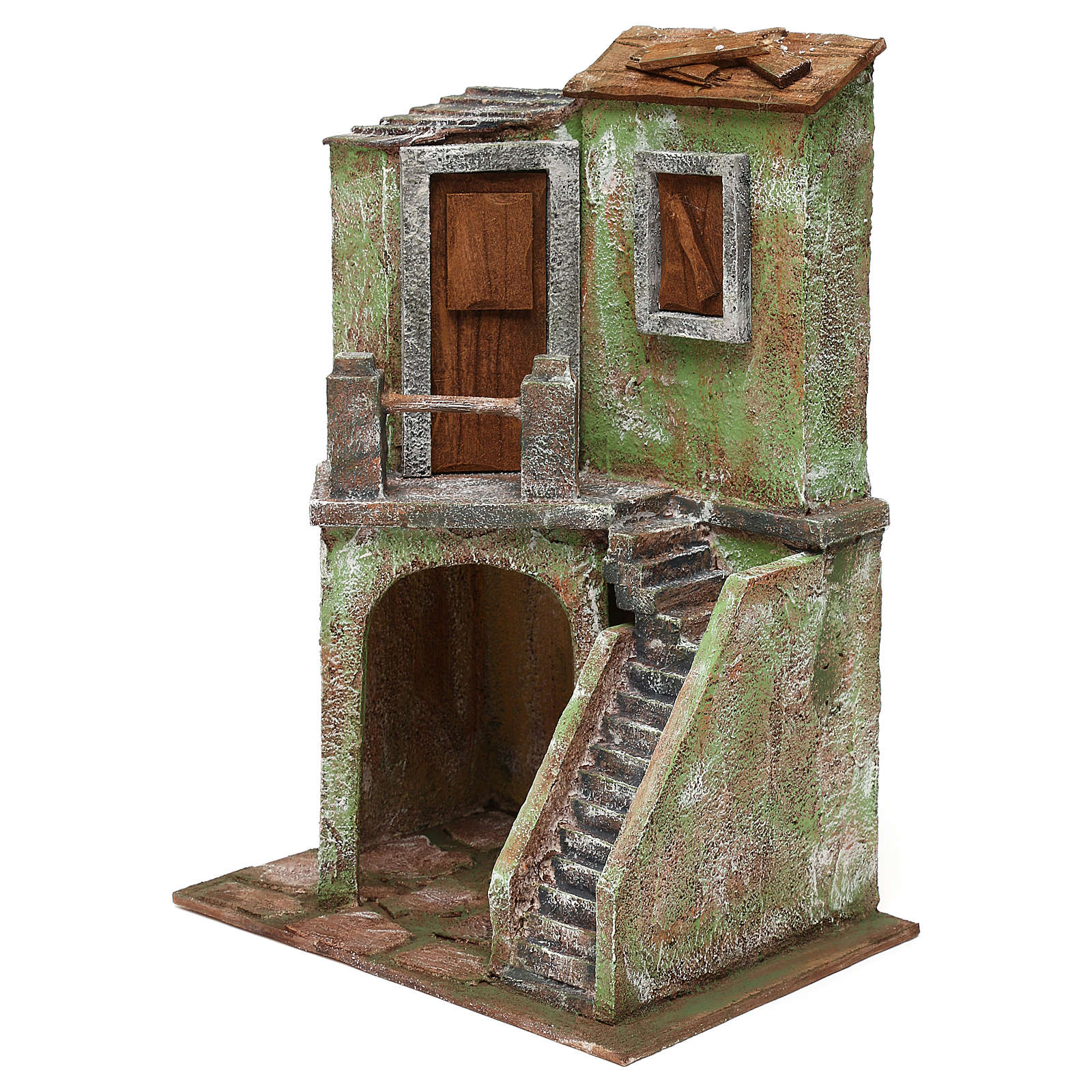 House with stairs and roofed area for 10 cm Nativity scene, 35x25x15 cm 4