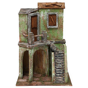 House with stairs and roofed area for 10 cm Nativity scene, 35x25x15 cm s1