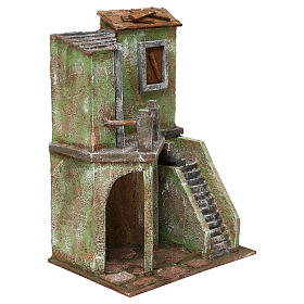 House with stairs and roofed area for 10 cm Nativity scene, 35x25x15 cm s3