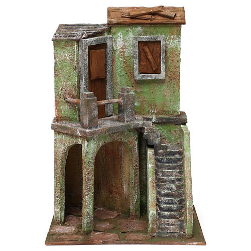 House with stairs and roofed area for 10 cm Nativity scene, 35x25x15 cm 1