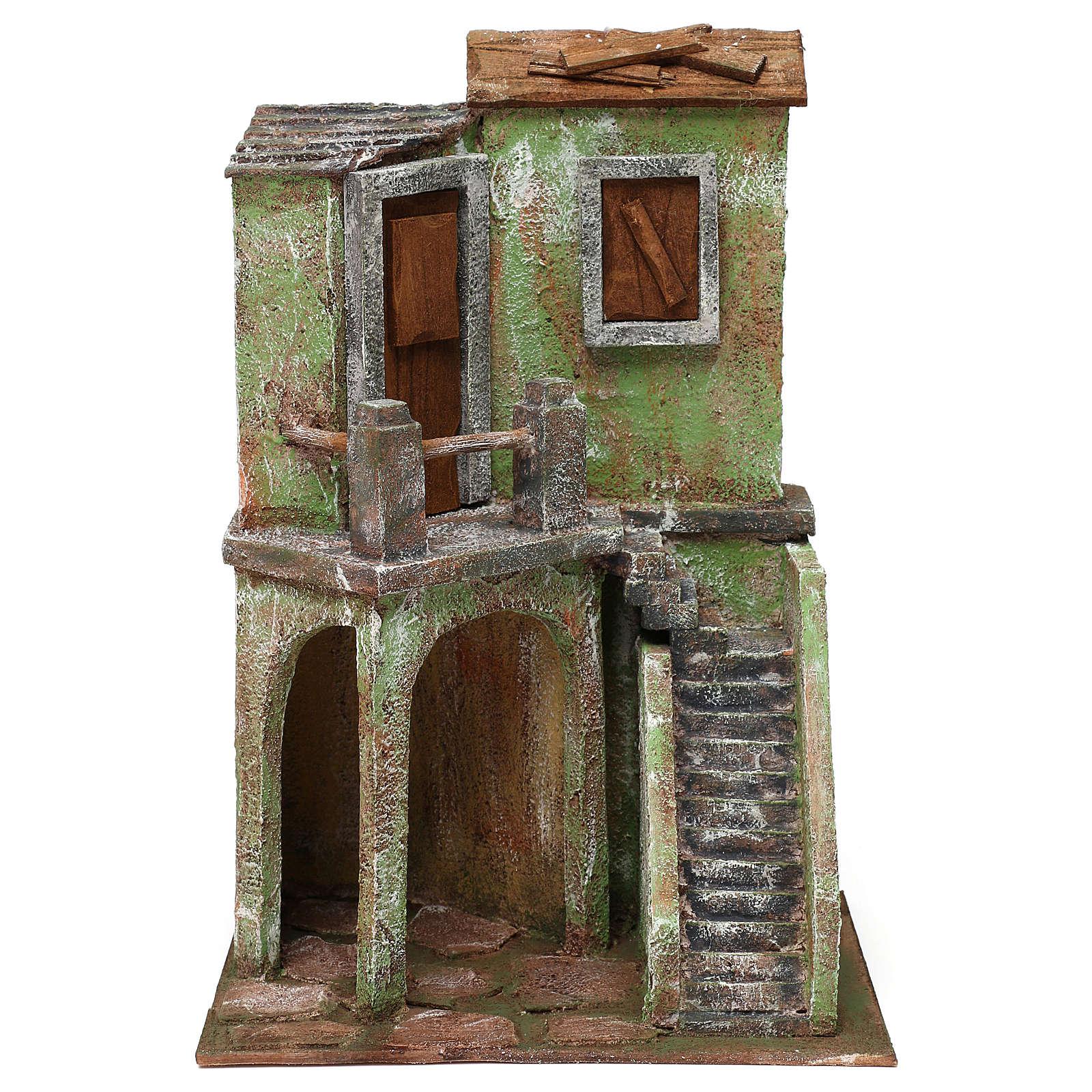 Casetta con scale e grotta di 35x25x15 cm per presepe di 10 cm 4