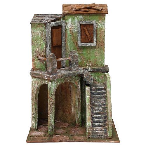 Casetta con scale e grotta di 35x25x15 cm per presepe di 10 cm 1