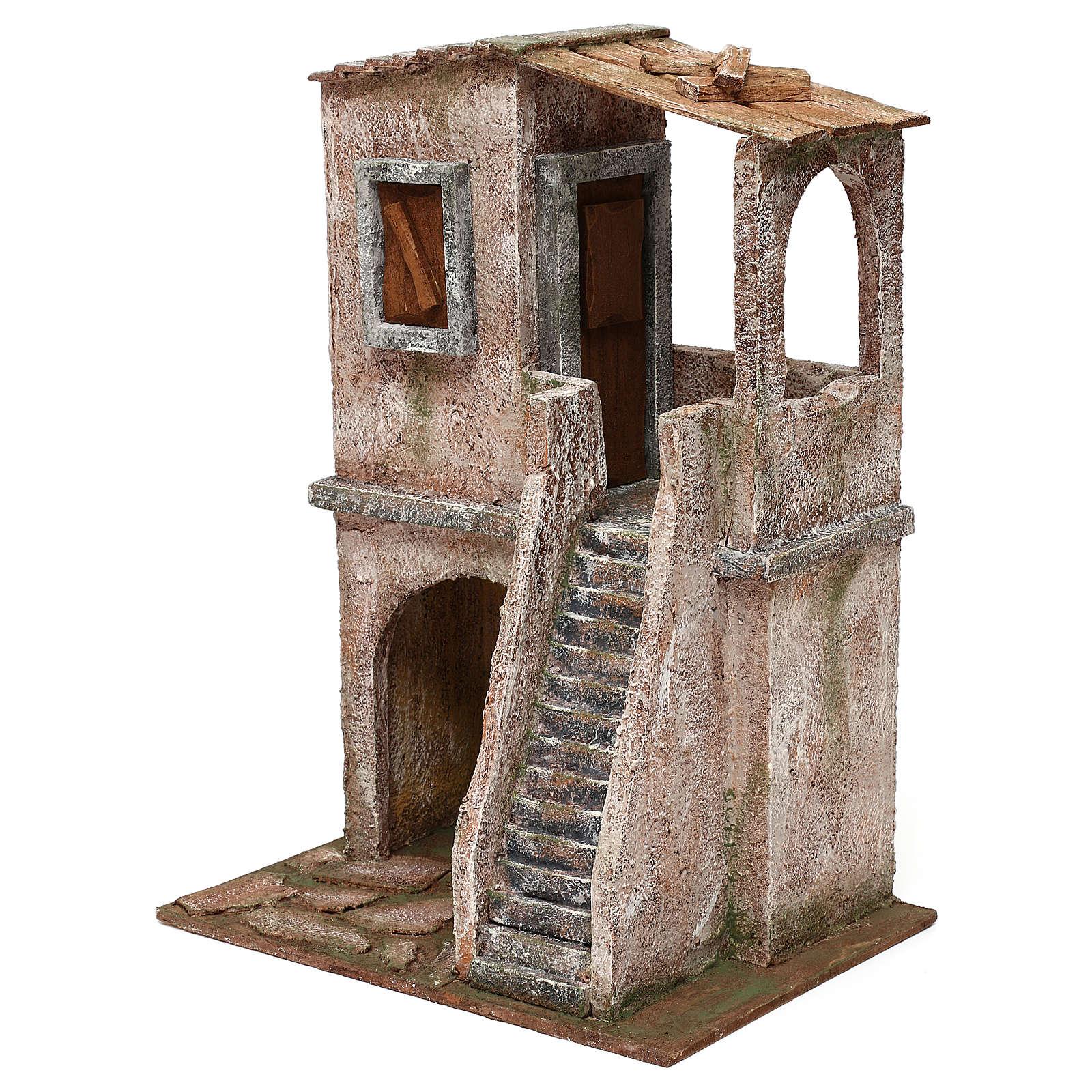 Two-floor house for 12 cm Nativity scene, 34x25x18 cm 4