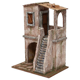 Two-floor house for 12 cm Nativity scene, 34x25x18 cm s2