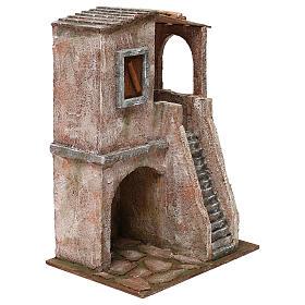 Casetta disposta su 2 piani comunicanti di 34x25x18 cm presepe 12 cm s3