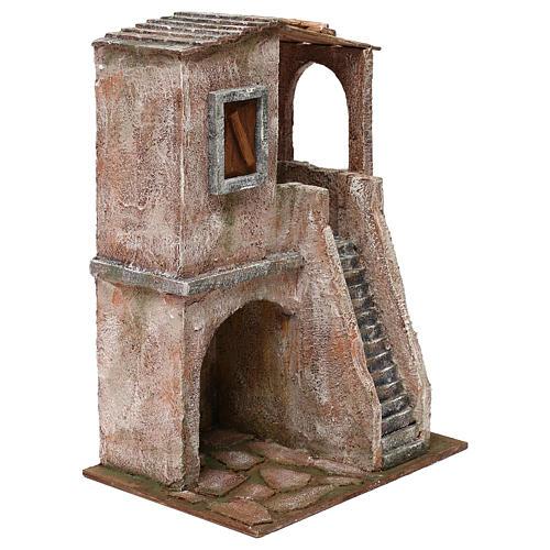 Casetta disposta su 2 piani comunicanti di 34x25x18 cm presepe 12 cm 3