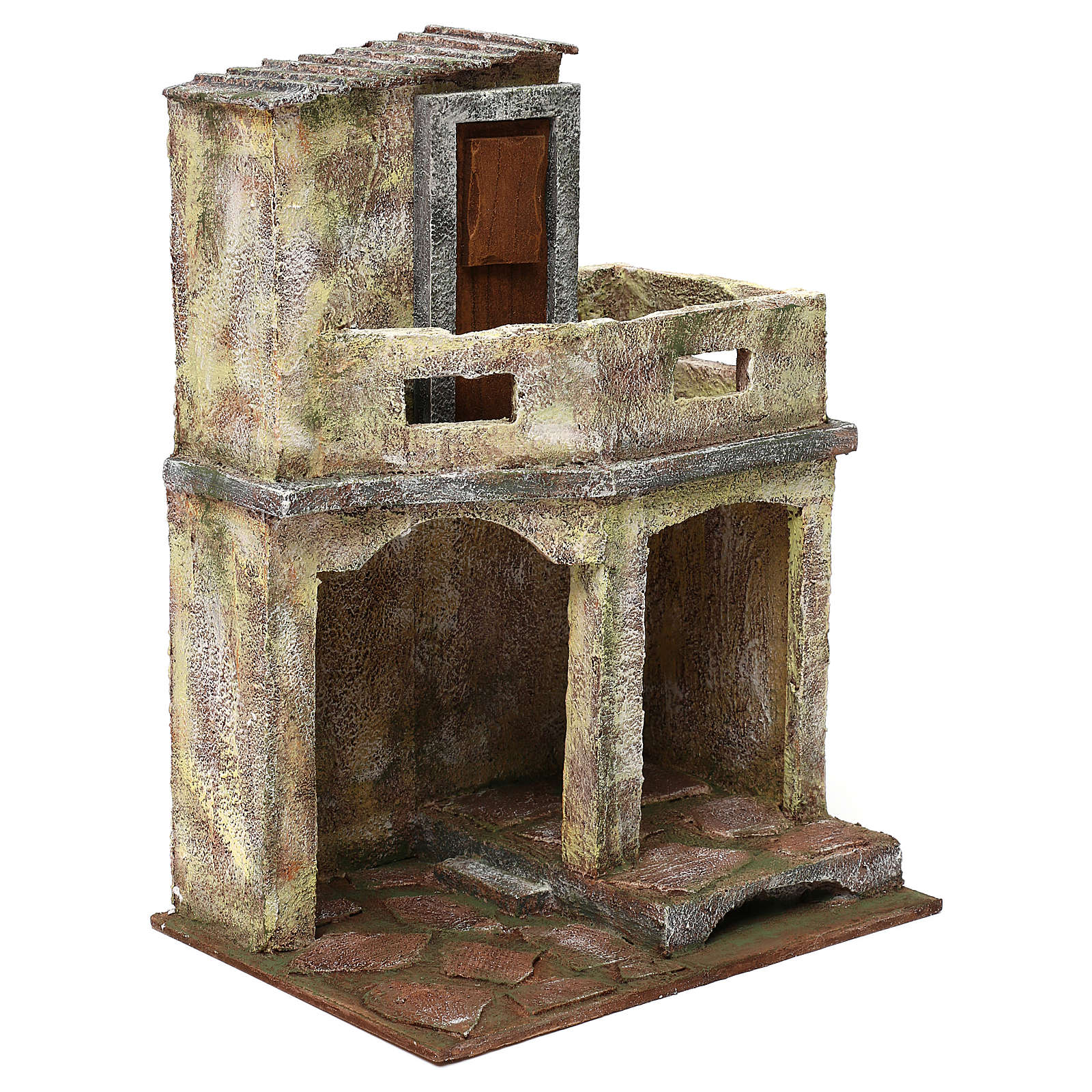 Building with balcony and shelter for 12 cm Nativity scene, 35x25x20 cm 4
