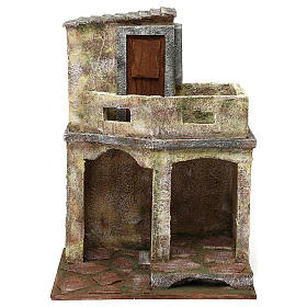 Building with balcony and shelter for 12 cm Nativity scene, 35x25x20 cm s1