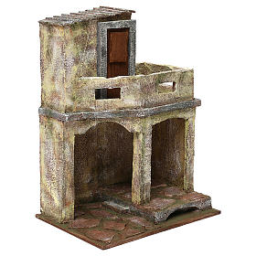 Building with balcony and shelter for 12 cm Nativity scene, 35x25x20 cm s3