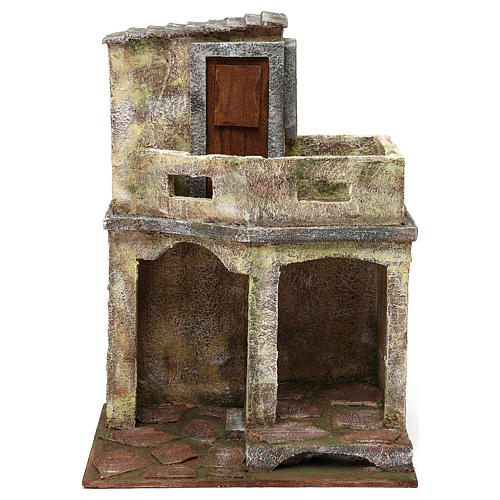 Building with balcony and shelter for 12 cm Nativity scene, 35x25x20 cm 1