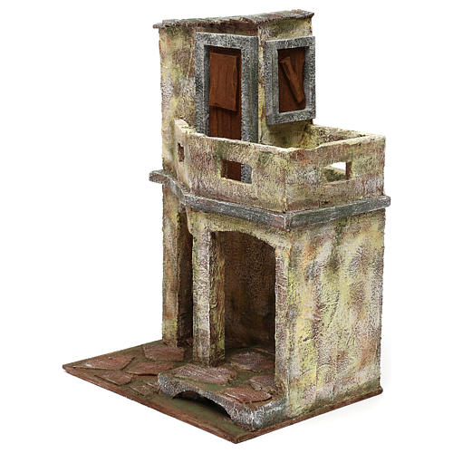 Building with balcony and shelter for 12 cm Nativity scene, 35x25x20 cm 2