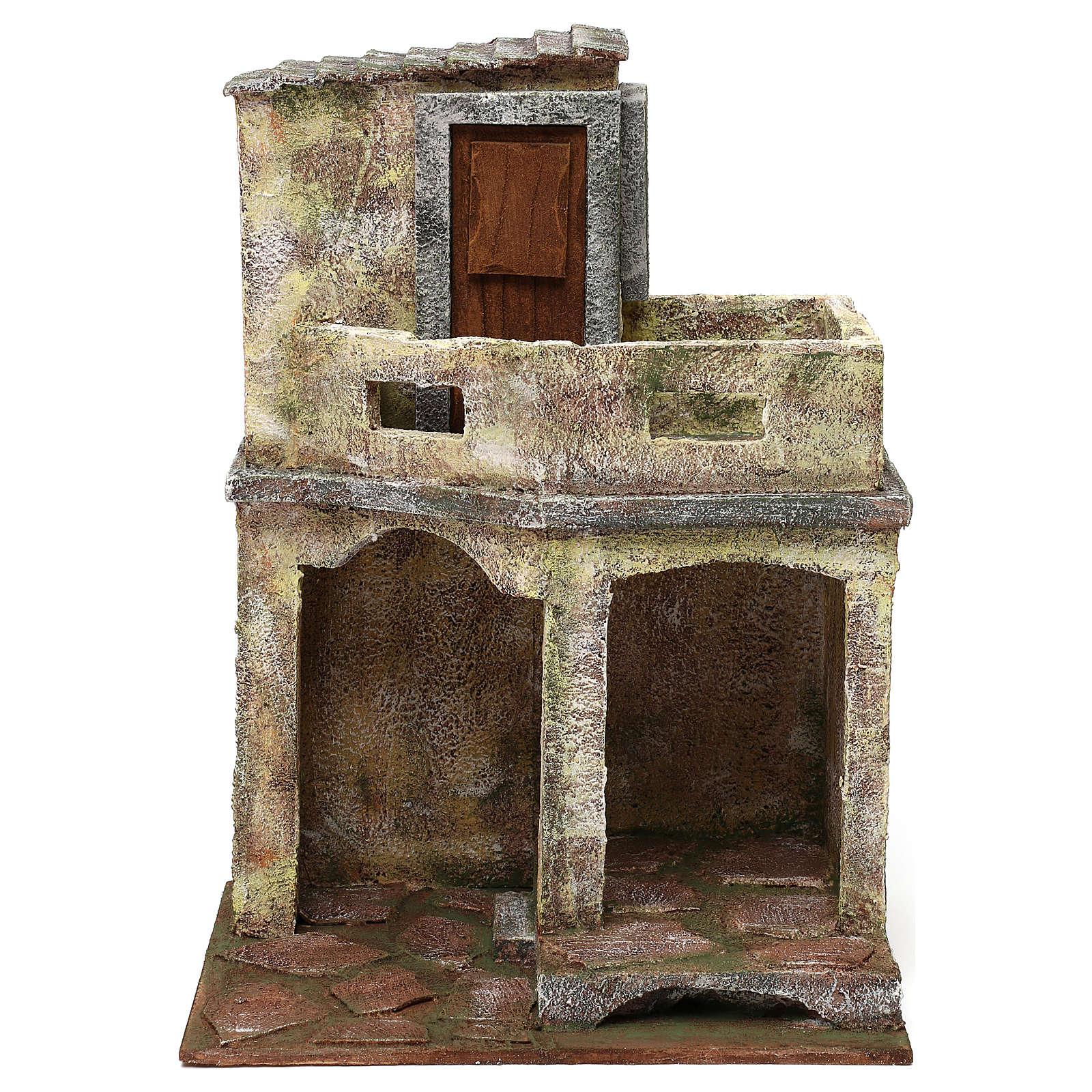 Ambientación con cabaña y balcón de 35x25x20 cm belén de 12 cm 4