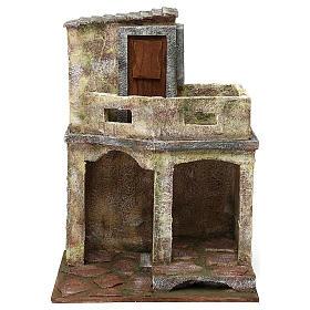 Ambientazione con capanna e balcone di 35x25x20 cm presepe di 12 cm s1