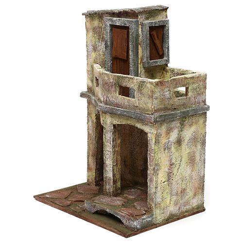 Ambientazione con capanna e balcone di 35x25x20 cm presepe di 12 cm 2