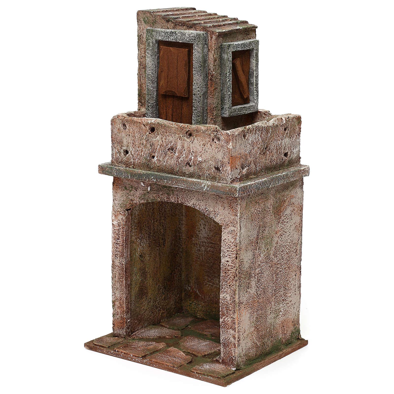 Caseggiato disposto su due livelli di 35x20x15 cm per presepi 12 cm 4