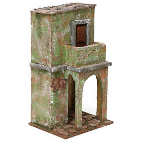 Green house with balcony and stable for 12 cm Nativity scene, 35x20x15 cm s3