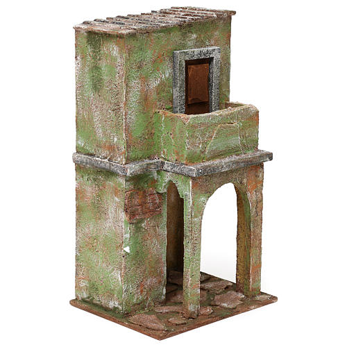 Green house with balcony and stable for 12 cm Nativity scene, 35x20x15 cm 3