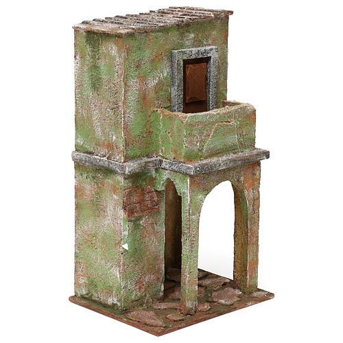 Casita mampostería verde con balcón y establo 35x20x15 cm belenes 12 cm 3