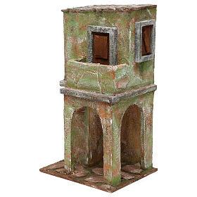 Casetta muratura verde con balconcino e stalla 35x20x15 cm presepi 12 cm s2