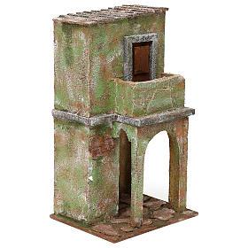 Casetta muratura verde con balconcino e stalla 35x20x15 cm presepi 12 cm s3