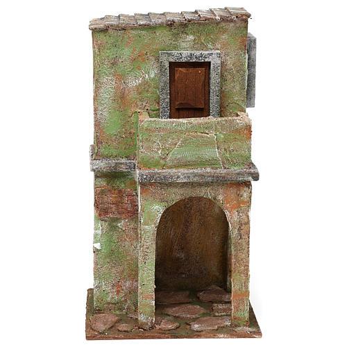 Casetta muratura verde con balconcino e stalla 35x20x15 cm presepi 12 cm 1