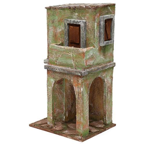 Casetta muratura verde con balconcino e stalla 35x20x15 cm presepi 12 cm 2