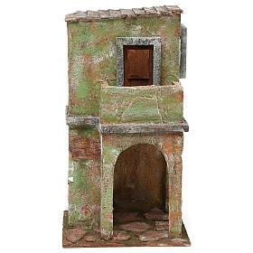Ambientações para Presépio: lojas, casas, poços: Casinha em alvernaria verde com balcão e estábulo 35x20x15 cm para presépio com figuras de 12 cm de altura média