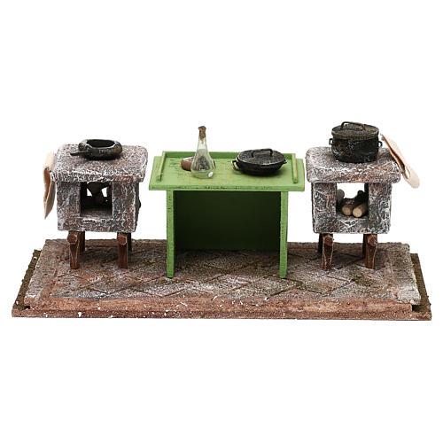 Cocina con mesa y ollas 10x25x10 cm belén 12 cm 1