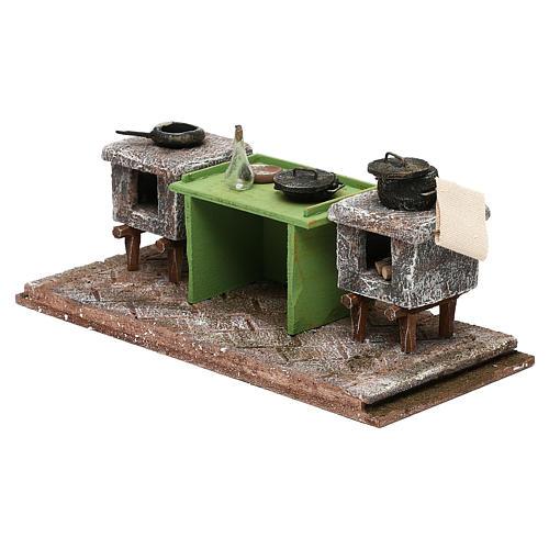 Cocina con mesa y ollas 10x25x10 cm belén 12 cm 2