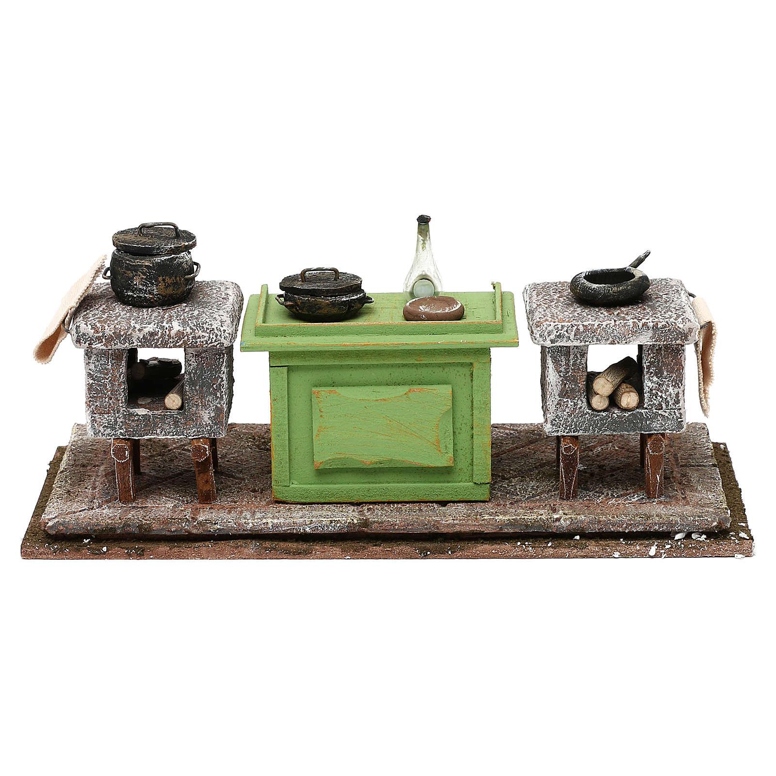 Cucina con banco e pentole 10x25x10 cm presepe 12 cm 4