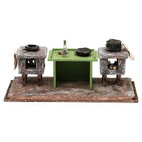 Cucina con banco e pentole 10x25x10 cm presepe 12 cm s1