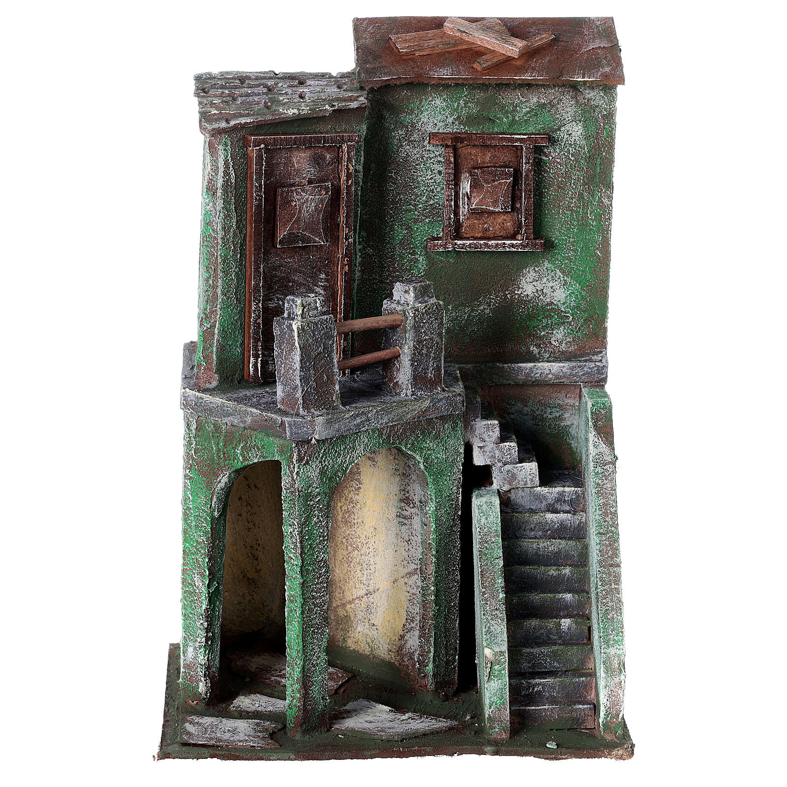 House with balcony, stairs and small stable for 10 cm Nativity scene, 30x20x15 cm 4