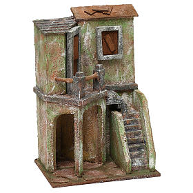 House with balcony, stairs and small stable for 10 cm Nativity scene, 30x20x15 cm s3
