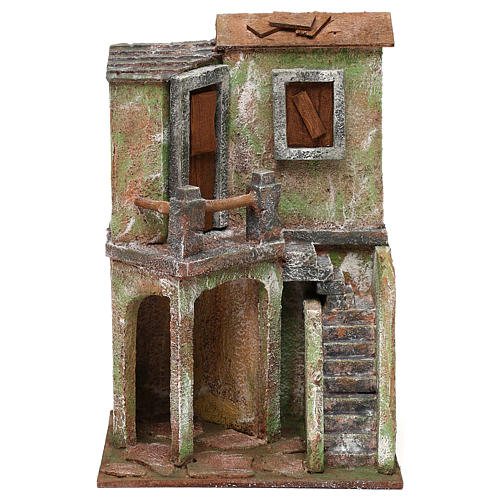 House with balcony, stairs and small stable for 10 cm Nativity scene, 30x20x15 cm 1