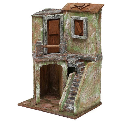 House with balcony, stairs and small stable for 10 cm Nativity scene, 30x20x15 cm 2