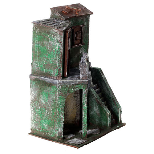 House with balcony, stairs and small stable for 10 cm Nativity scene, 30x20x15 cm 3