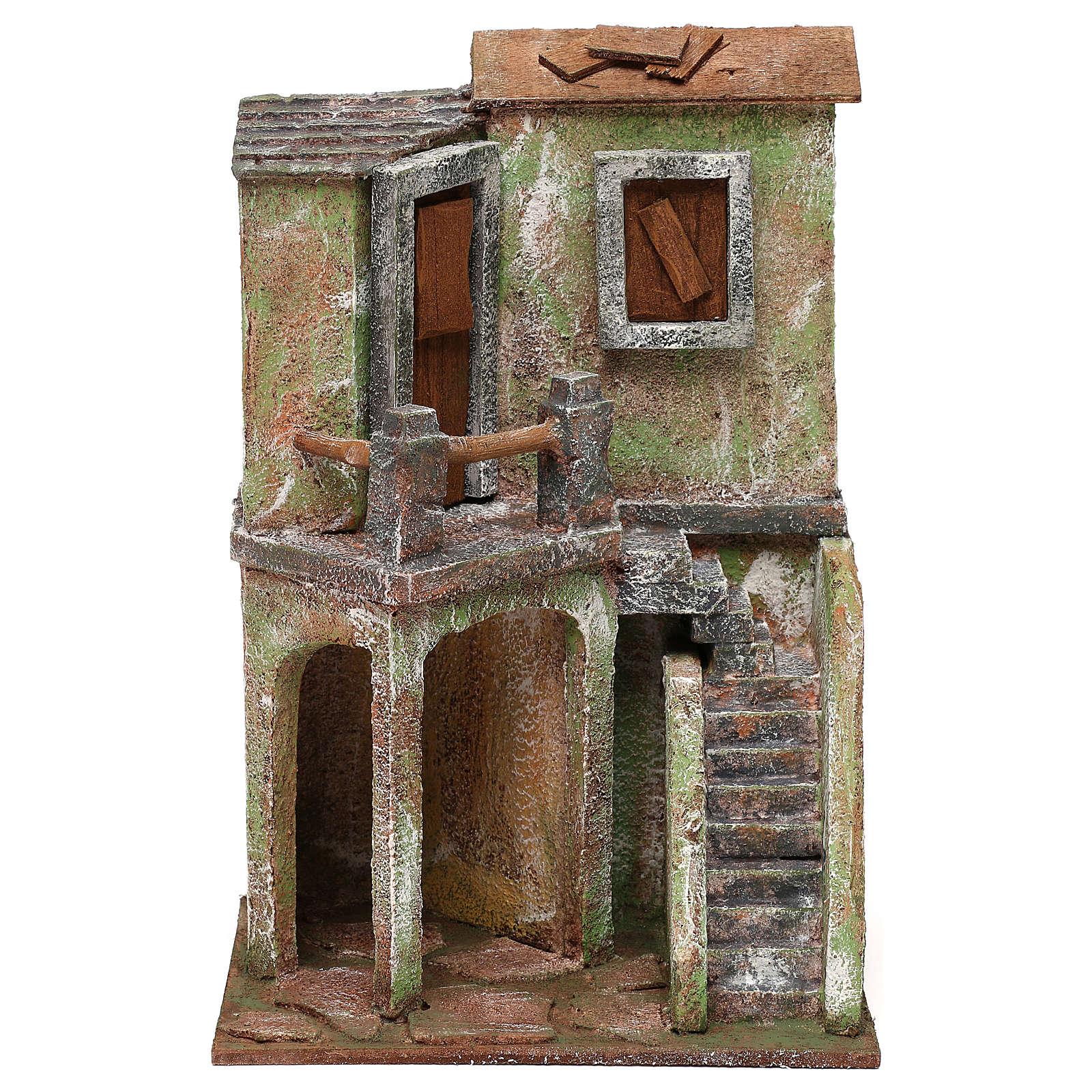 Caseggiato con balcone scala e piccola stalla di 30x20x15 cm presepe 10 cm 4