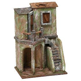 Caseggiato con balcone scala e piccola stalla di 30x20x15 cm presepe 10 cm s3