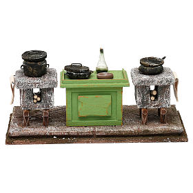 Kitchen with desk and pots for Nativity scene, 10x20x10 cm s1