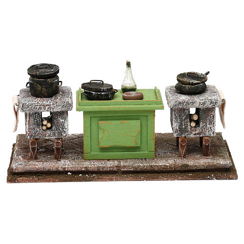 Kitchen with desk and pots for Nativity scene, 10x20x10 cm 1