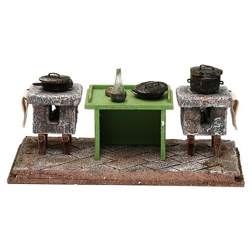 Kitchen with desk and pots for Nativity scene, 10x20x10 cm 4