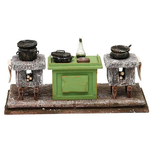 Cocina con mesa y ollas 10x20x10 cm 1