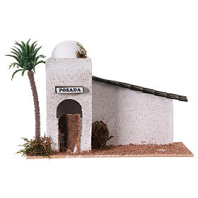 Ambientações para Presépio: lojas, casas, poços: Casinha estilo árabe madeira 15x20x10 cm para presépio com figuras de 5 cm de altura média
